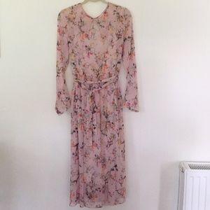 H&M Pink Sheer Floral Midi Dress